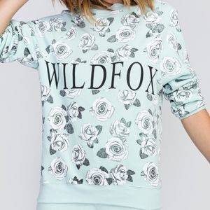 WILDFOX Garden Sommers Sweater Green Rose Floral